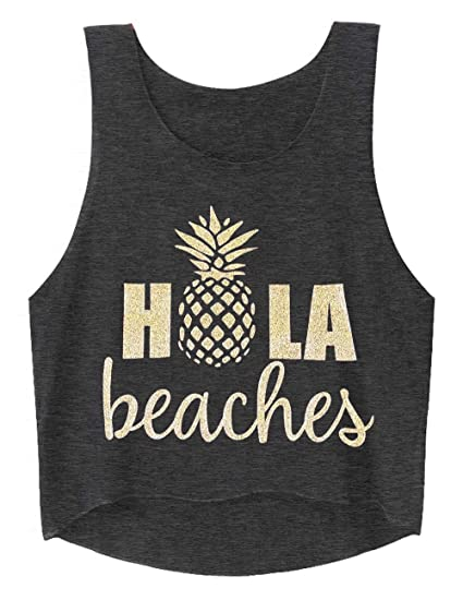 b03ed15315303 Cute Crop Tops for Women Hawaiian Shirts Hola Beaches Letter Print Sexy  Workout Yoga Tanks Pineapple T Shirt at Amazon Women s Clothing store