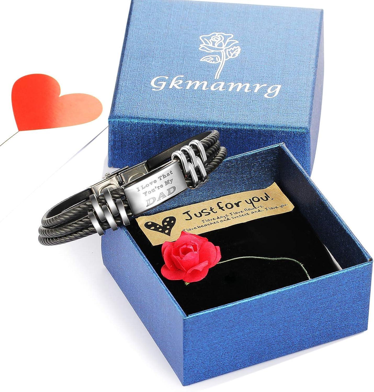 Gkmamrg Bracelet pour Homme avec Gravure Large Aimant en Silicone avec bo/îte Cadeau pour Dad Vater
