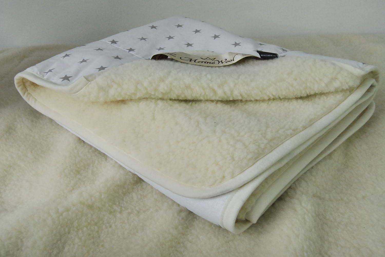 Merino Schafwolldecke Kuscheldecke, Wolldecke Merino Wolle Bettdecke Schurwolle Elegance Light (140 x 200 cm, Weiß)