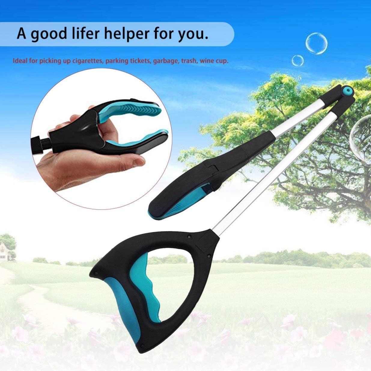 dispositivo plegable para recoger la basura con pinza de mano con LED herramienta de sanidad negro Pinza de metal multiusos para recoger basura azul y plateado Sairis