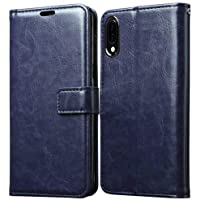 Goelectro Samsung Galaxy M10 / GalaxyM10 Leather Dairy Flip Case Stand with Magnetic Closure & Card Holder Cover (Blue)