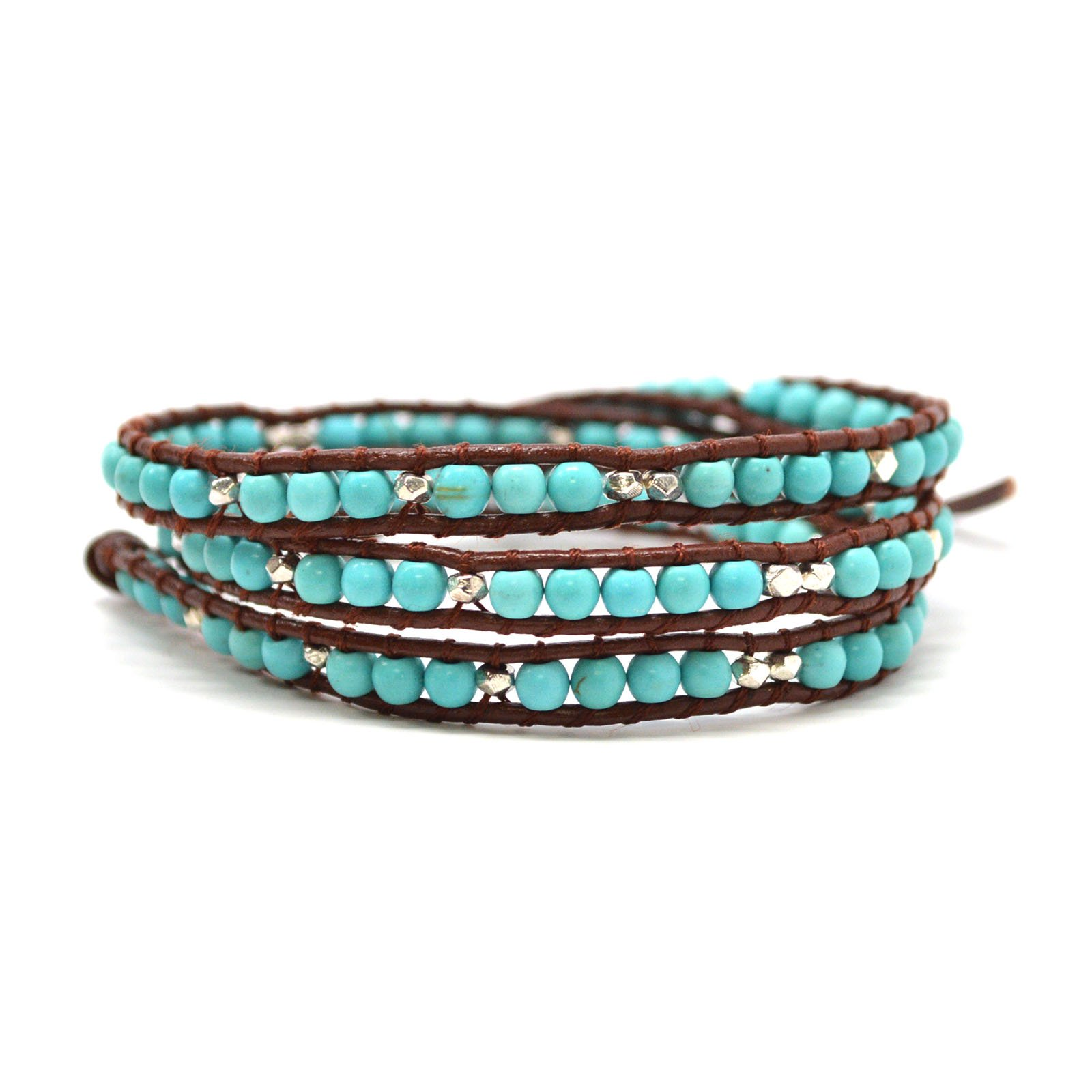Trendy Turquoise and Metallic Beaded Leather Wrap Bohemian Style Hipster Friendship Bracelet (23 Inches) by Baubles N Gems