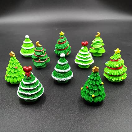emien 10 pieces christmas trees miniature ornament kits set for diy fairy garden dollhouse decoration