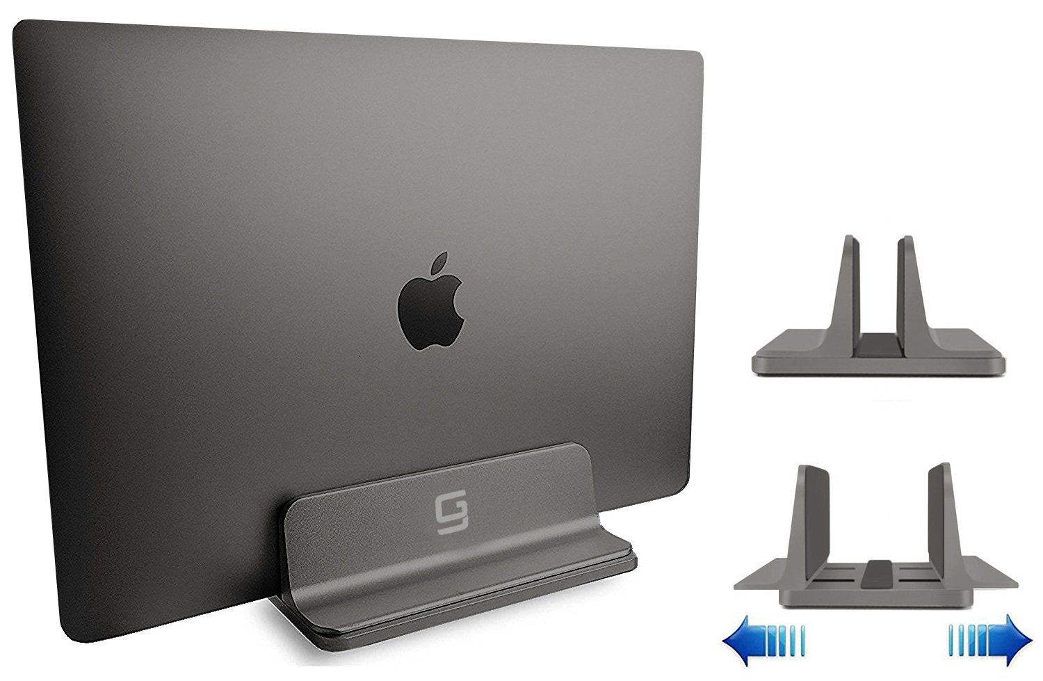 Adjustable Laptop Stand Dock | Fits All Apple MacBook Pro Air HP Dell Acer Lenovo Microsoft Surface Samsung Sony ASUS Laptops iPad | Vertical Modern Aluminum Custom Fit Desktop Space-Saving (Gray)