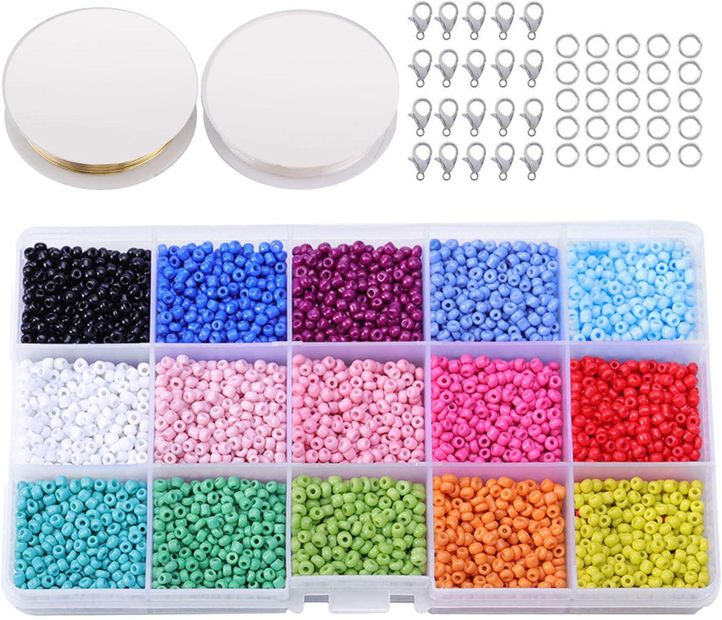 Abalorios para Hacer Collares, Abalorios para Hacer Pulseras, Vidrio de 3mm Perlas de Potro Hechas a Mano para Hacer Joyas Collares Pulseras Pendiente Bisutería Regalo DIY 7000-7500 Piezas
