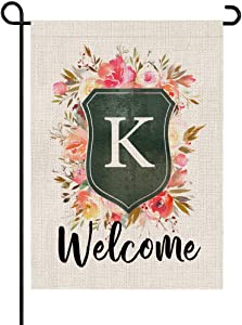 PARTY BUZZ Rose and Shield Monogram Letter K Burlap Garden Flag Initial, Double Sided, 12.5 x 18 Inch, Small Mini Outdoor Yard Floral Flag