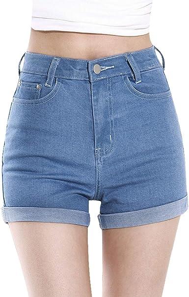 Minetom Mujer Talle Alto Pantalones Cortos Engaste Shorts De Mezclilla Casual Jeans Shorts Amazon Es Ropa Y Accesorios