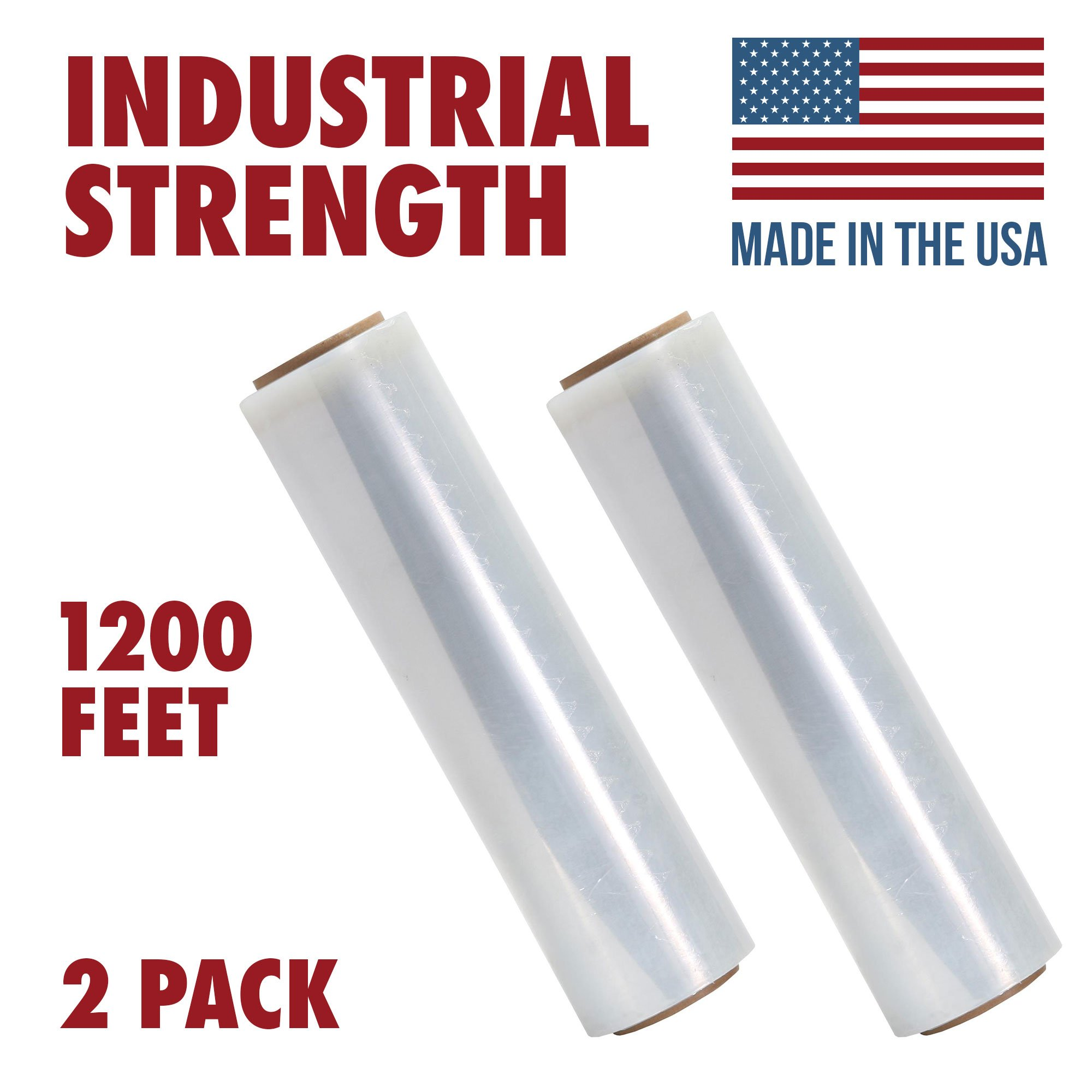 18 X 1200 Tough Pallet Shrink Wrap, 80 Gauge 18 Inch X 1200 feet Industrial Strength, Commercial Grade Strength Film, Moving & Packing Wrap, For Furniture, Boxes, Pallets (2-Pack)