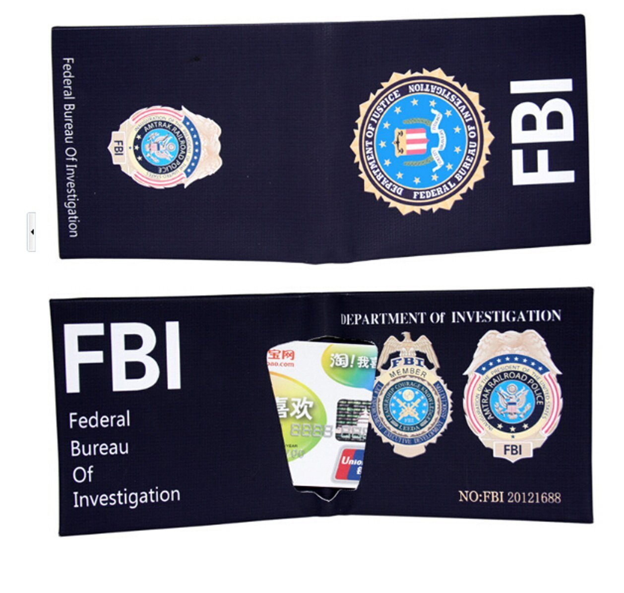 FBI Style Wallet with Badges Creative Hand Making Purse