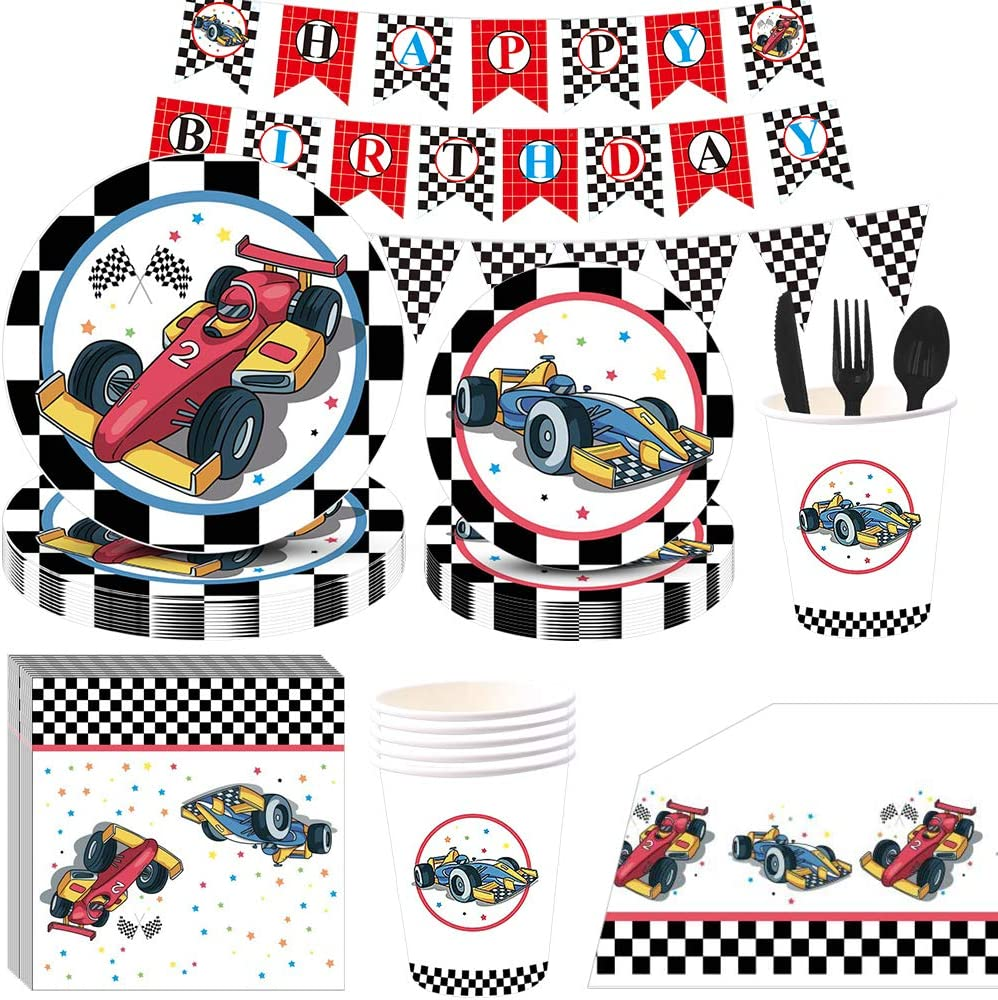 115PCS Car Birthday Party Supplies, Partybloom Car Party Disposable Tableware with Car Plates Cups Napkins Banner More Serves 16 for Boys Kids Car Birthday Party Decorations