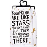 "Primitives by Kathy LOL Made You Smile Dish Towel, 28"" x 28"", Good Friends are Like Stars"