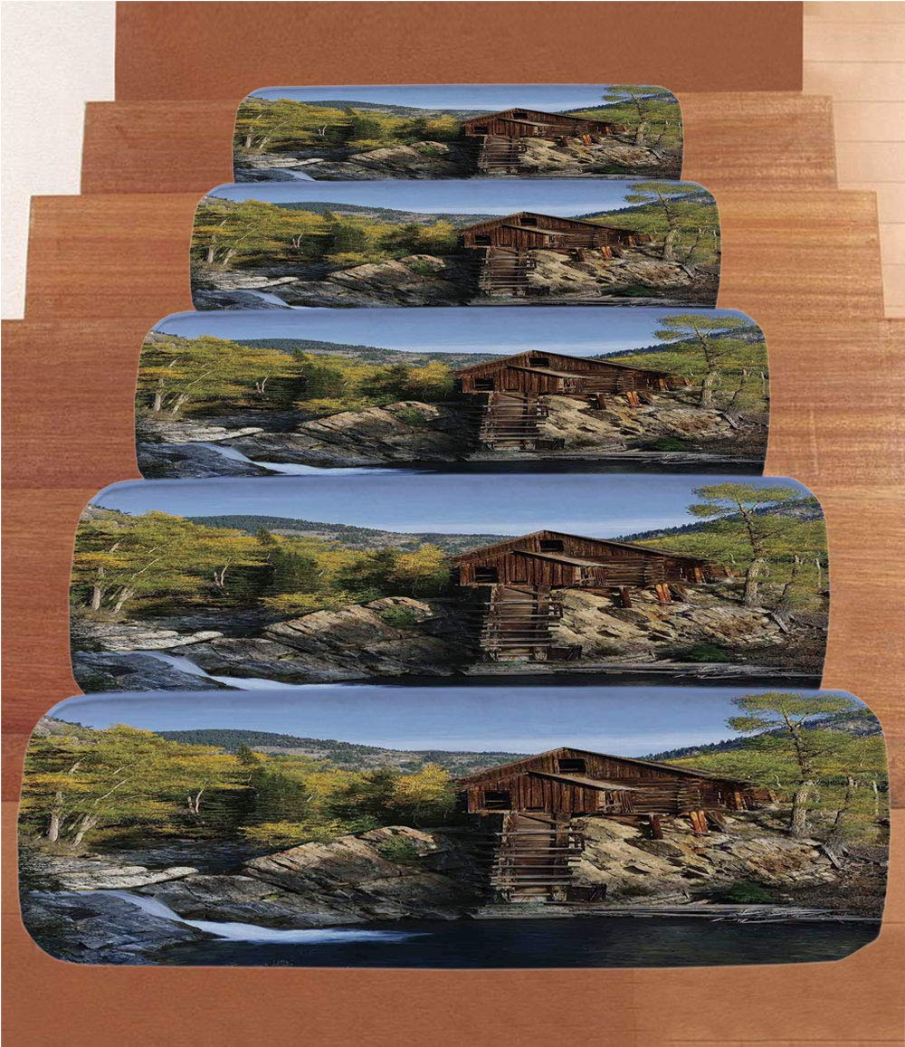 iPrint Non-Slip Carpets Stair Treads,Landscape,Secluded Wooden Cabin in Woods River Waterfall Forest Mill Mountain Pine Trees,Multicolor,(Set of 5) 8.6''x27.5''