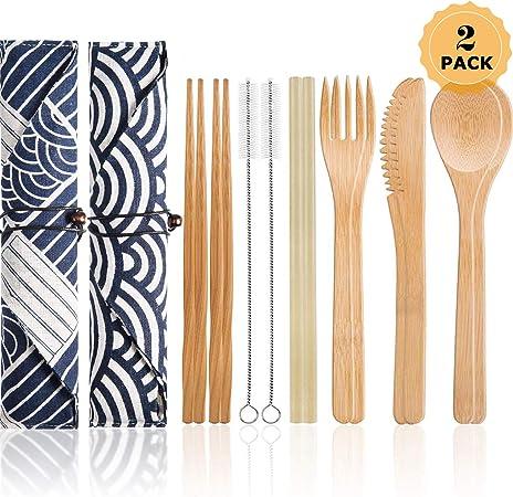 YuChiSX 2 Juegos de Cubertería de Bambú Reutilizable Juego de Cubiertos de Viaje con Caja, Cubiertos para Acampar con Bolsa, Aptos para el Uso Diario, Viajes, Acampar: Amazon.es: Hogar