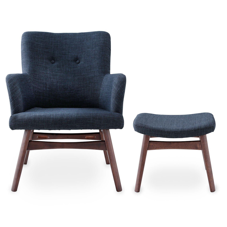 LOWYA (ロウヤ) チェア 椅子 パーソナルチェア オットマン ファブリック 天然木脚 もっちり ピュアウレタン アーム付き おしゃれ 新生活 ダークネイビー B07BHBGJCL