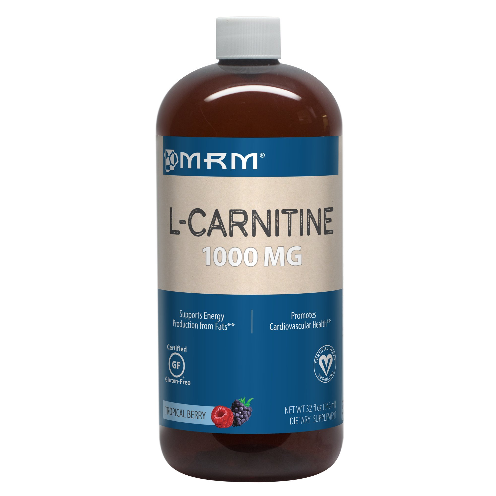 MRM - L-Carnitine 1000, Supports Energy Metabolism, Cardiovascular & Liver Health (Tropical Berry Flavor, 32 oz)