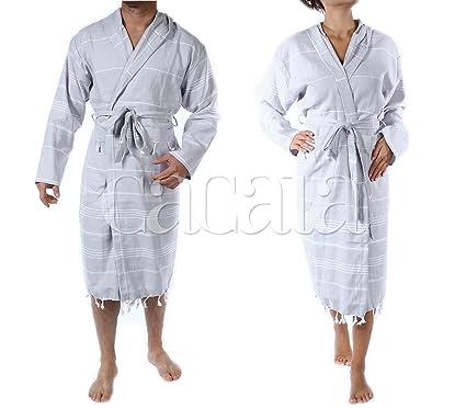 e0ff45f673 Cacala Hooded Bathrobe Pestemal Fabric 100% Turkish Cotton Kimono Unisex  Silver Grey