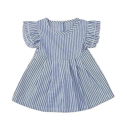 feiXIANG Ropa de bebé niña niño niña niña Vestido a Rayas Vestido niña Linda Ropa bebé