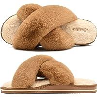 KuaiLu Zapatillas de Casa Mujer Cómodos Plano Felpa Pantuflas Antideslizante Punta Abierta Mullido Dama Sandalias de…