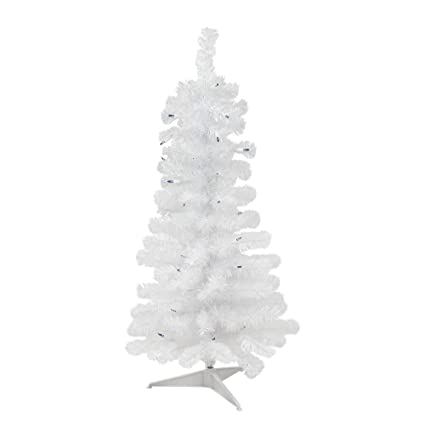 White Christmas Tree With Blue Lights.Northlight 3 Pre Lit White Pine Slim Artificial Christmas Tree Blue Lights