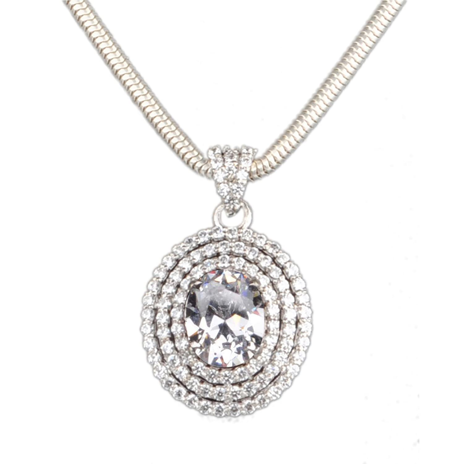 3.50 CARATS OVAL SHAPE CZ SOLITAIRE CLASSY PENDANT WITHOUT CHAIN