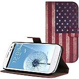 kwmobile Wallet Case Kunstlederhülle für Samsung Galaxy S3 / S3 Neo - Cover Flip Tasche in Flagge USA Design mit Kartenfach und Ständerfunktion in Blau Weiß Rot