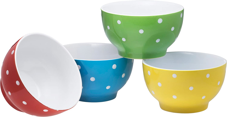 Everyday Ceramic Bowls - Cereal, Soup, Ice Cream, Salad, Pasta, Fruit, 20 oz. Set of 4, By Bruntmor (Polka Dot)
