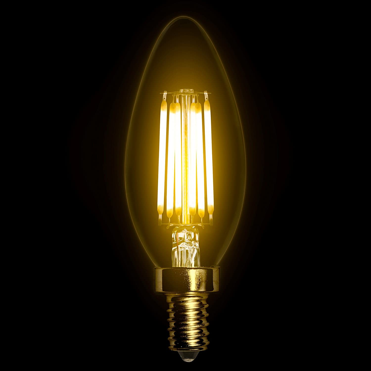 TriGlow T95083 LED 5-Watt UL Listed Clear Flame Tip Filament Bulb E12 Candelabra Base 500 Lumen DIMMABLE 2700K Warm White 60W Replacement