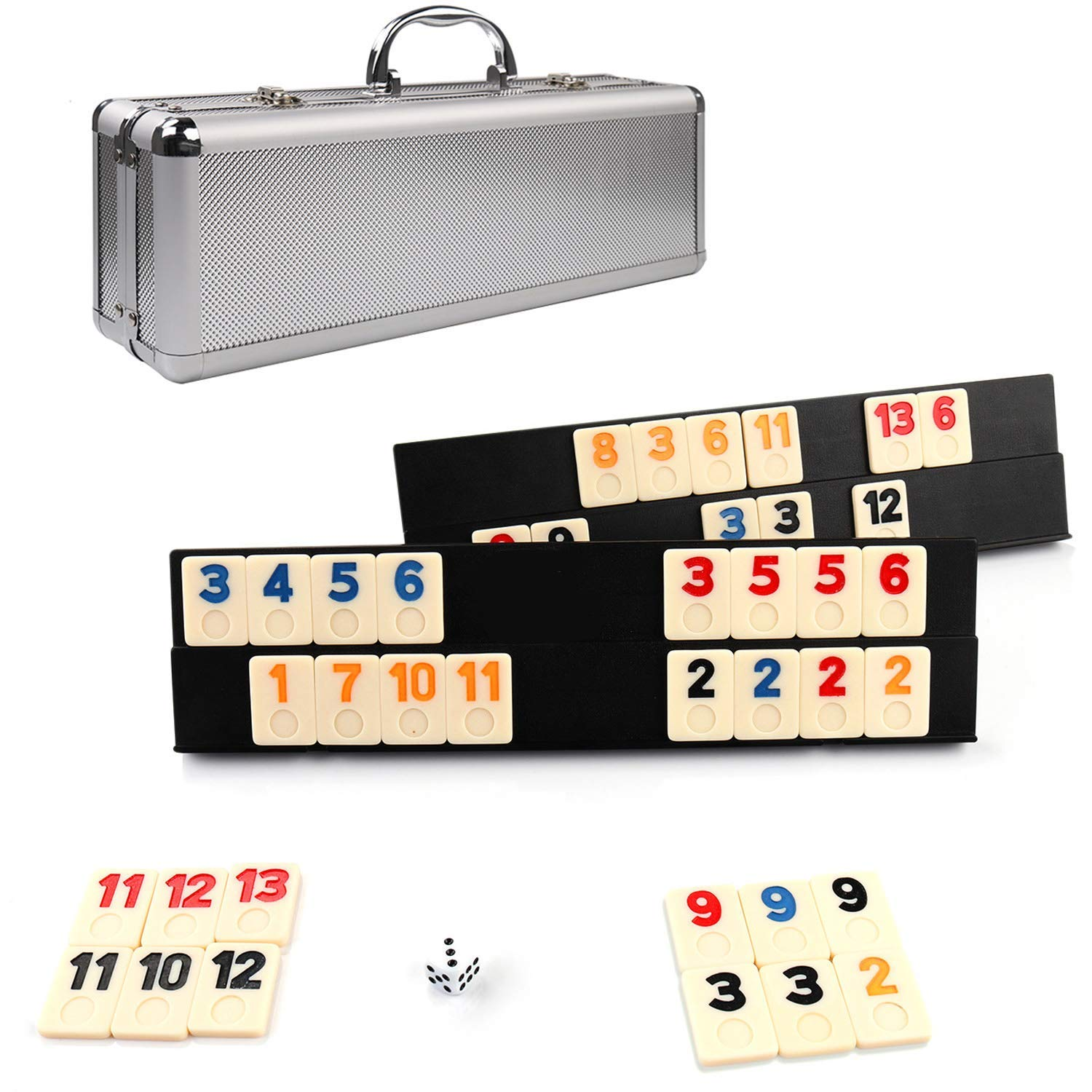 KAILE 106 Tiles Rummy Game Outlasting Color with Aluminum Case & 4 Anti-Skid Durable Trays for Kids by KAILE