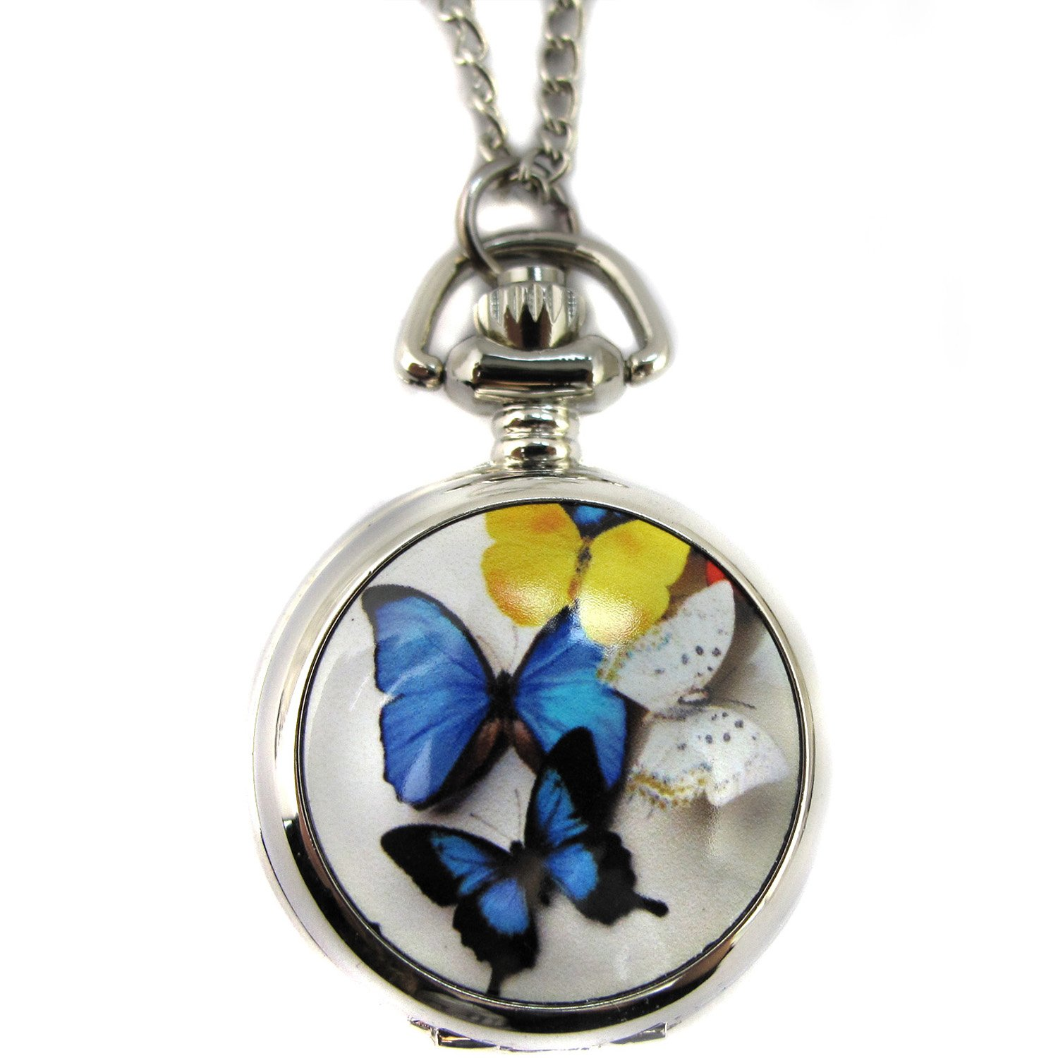 | YouYouPifa Four Beautiful Butterfly White And Silver Small Pocket Watch With Chain