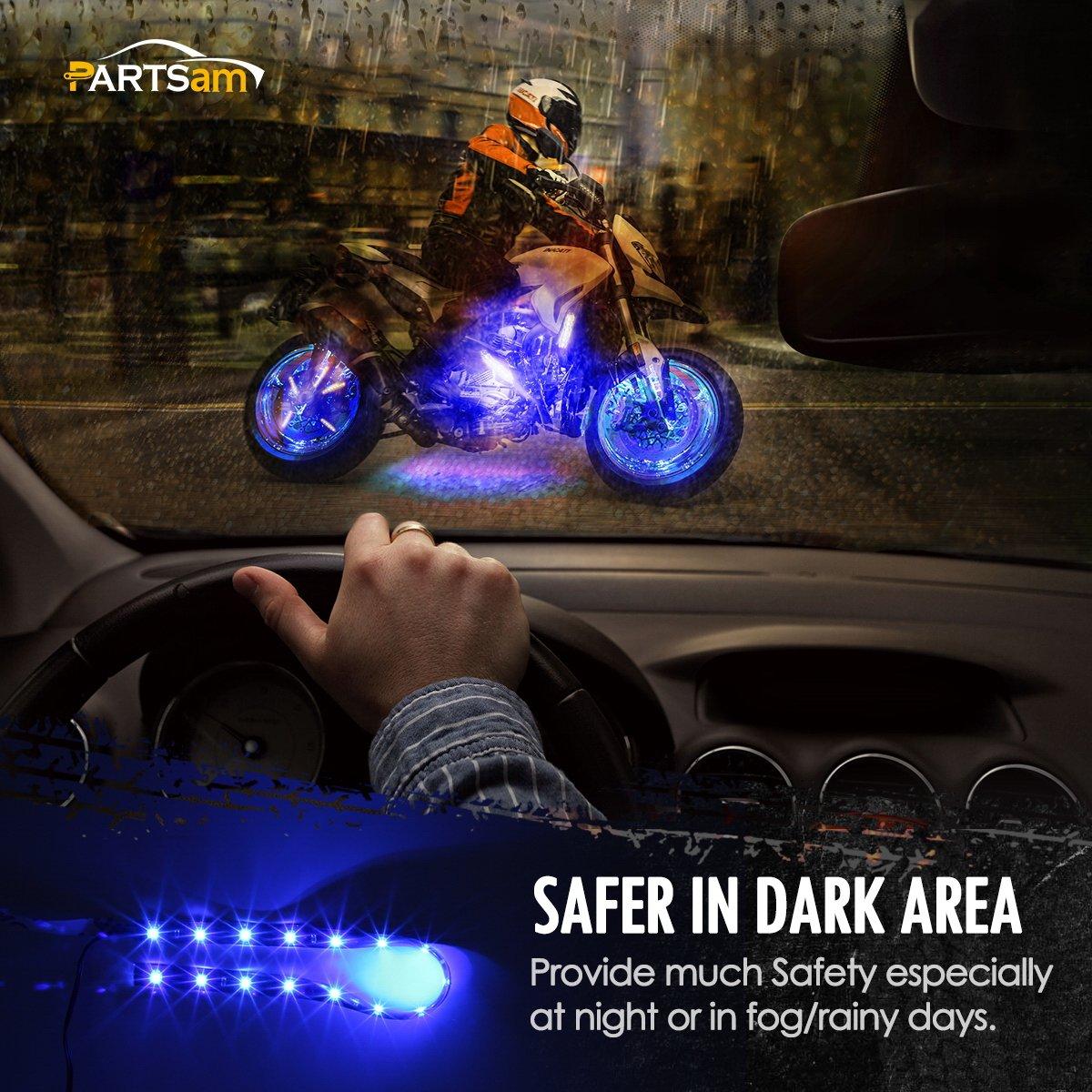 Partsam 2PCS Blue LED Strip Lights Interior Under Dash Floor Light for Cars Trucks Pickup 12 15-3528-SMD Glow Neon Lighting Side footwells Light