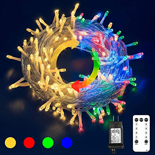 Hopolon Color Changing Outdoor String Lights, 33ft 100 LED 9 Modes with Remote, Christmas Fairy String Lights Decor for Christmas Party Tree Wedding Holiday Decorations Warm White Multi Color