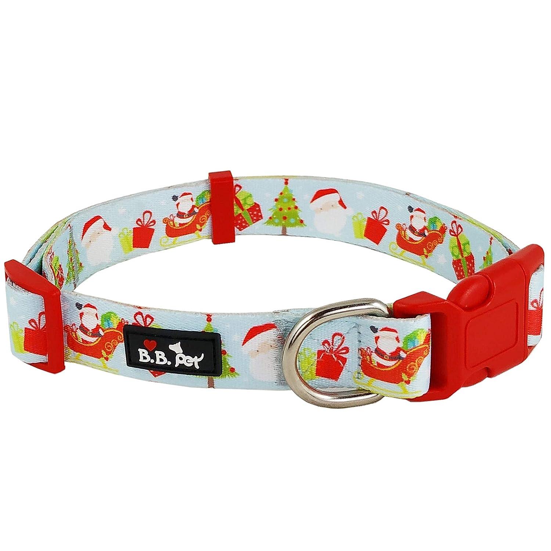 18\ Bestbuddy Pet Christmas Santa Gift Arctic Durable Nylon Designer Fashion Dog Collar Trendy Comfortable Adjustable Dog Collar with Buckle BBP030