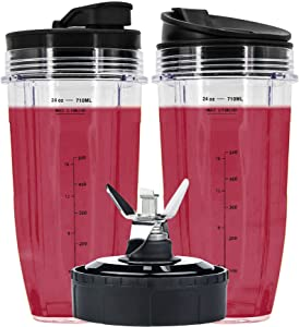 24 oz Cups Compatible with Nutri Ninja Auto IQ Series Blender, Pro Replacement Parts with 2 Type Lids, 7 Fins Extractor Blade, Compatible for BL450 BL454 BL456, BL480, BL490