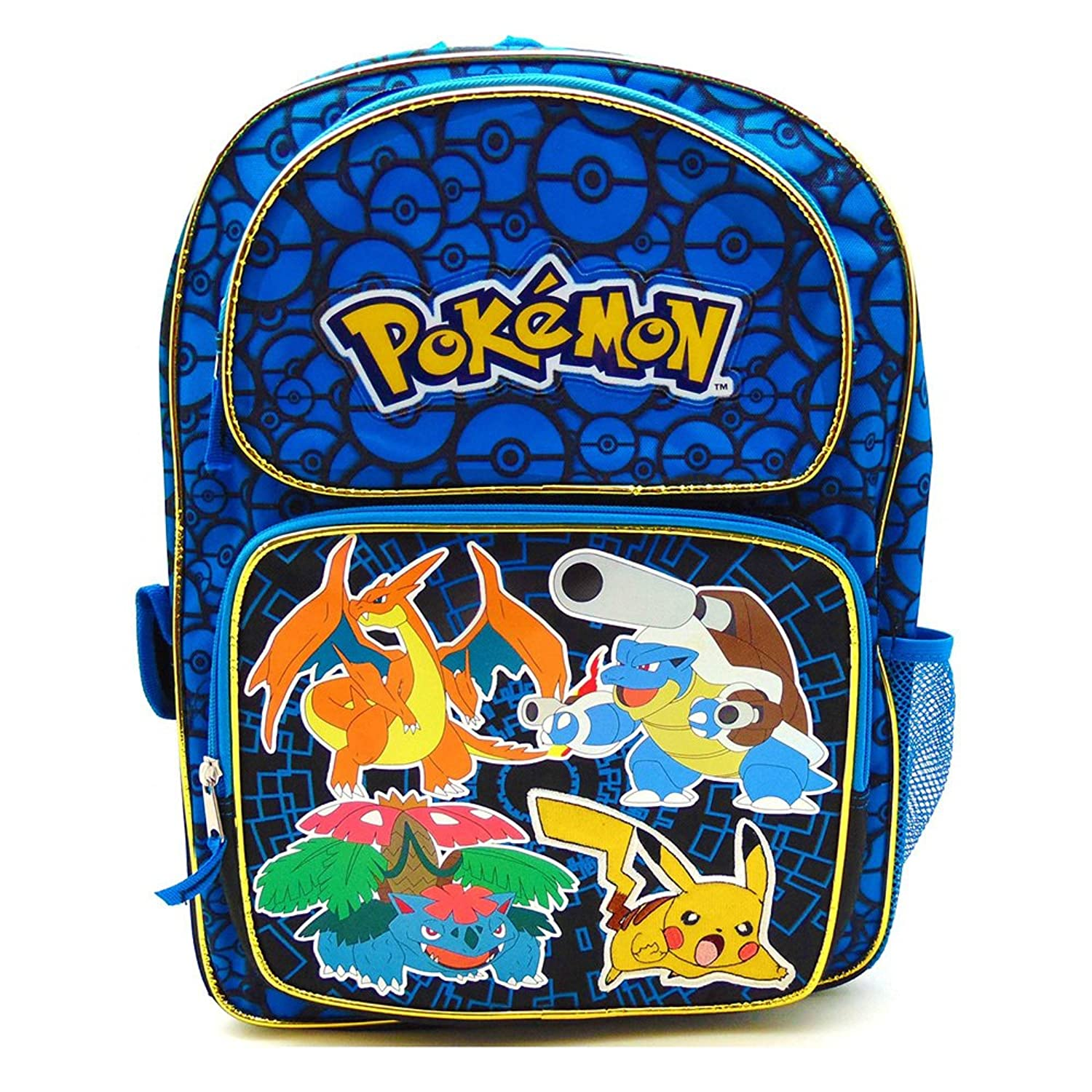"Pokemon Large 16/"" Backpack Girls or Boys School Book Bag Blue"