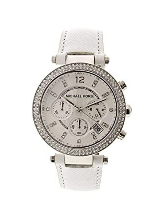 f7e33f54a Michael Kors Women's Chronograph Parker White Leather Strap Watch 39mm  Mk2277