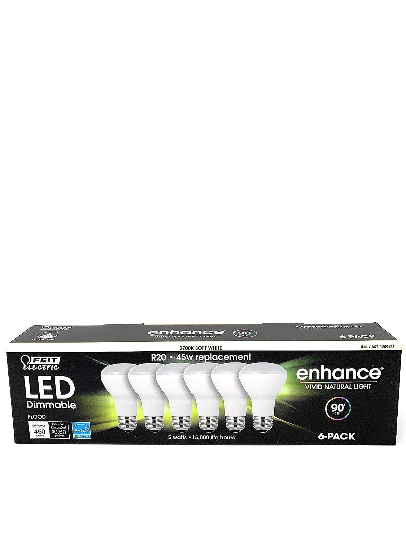 (6-Pack) Feit LED Dimmable R20 Daylight High-Performance Flood Light Bulb, 450-Lumen, 5000K, 45-Watt Equivalent, E26 Base, CRI 90+