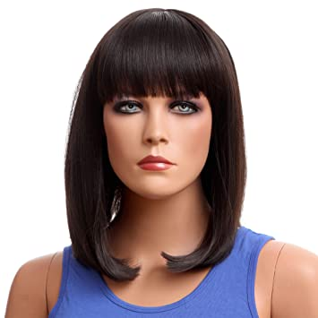 Nface Black Long Bob Shoulder Length Hair Wigs 13 Straight With Flat Bangs Fringe Curly Ends