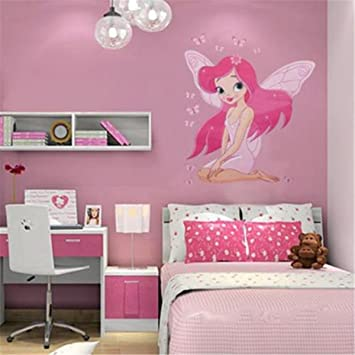 OrliverHL Girls Baby Princess Butterfly Decal Kids Room Wall Stickers  Bedroom Decors