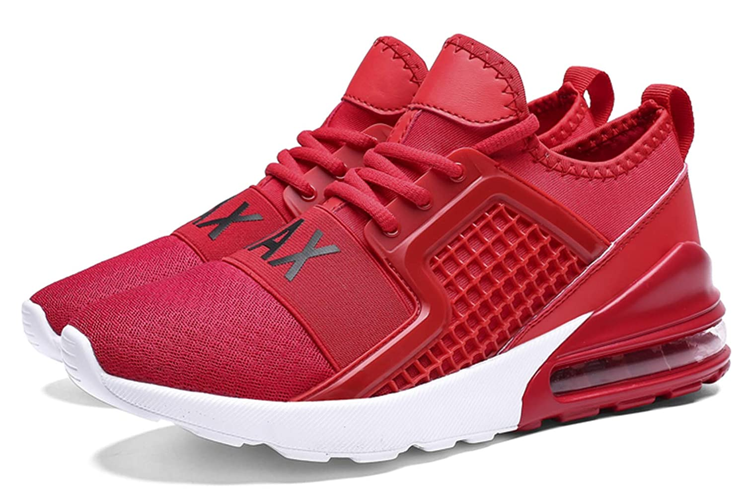 TSIODFO Mens Trail Running Shoes Lightweight Breathable Comfort Fashion Sneakers Youth Big Boys Tennis Shoes red White Black