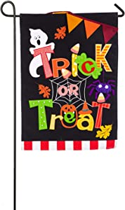Evergreen Trick or Treat Burlap Garden Flag, 12.5 x 18 inches