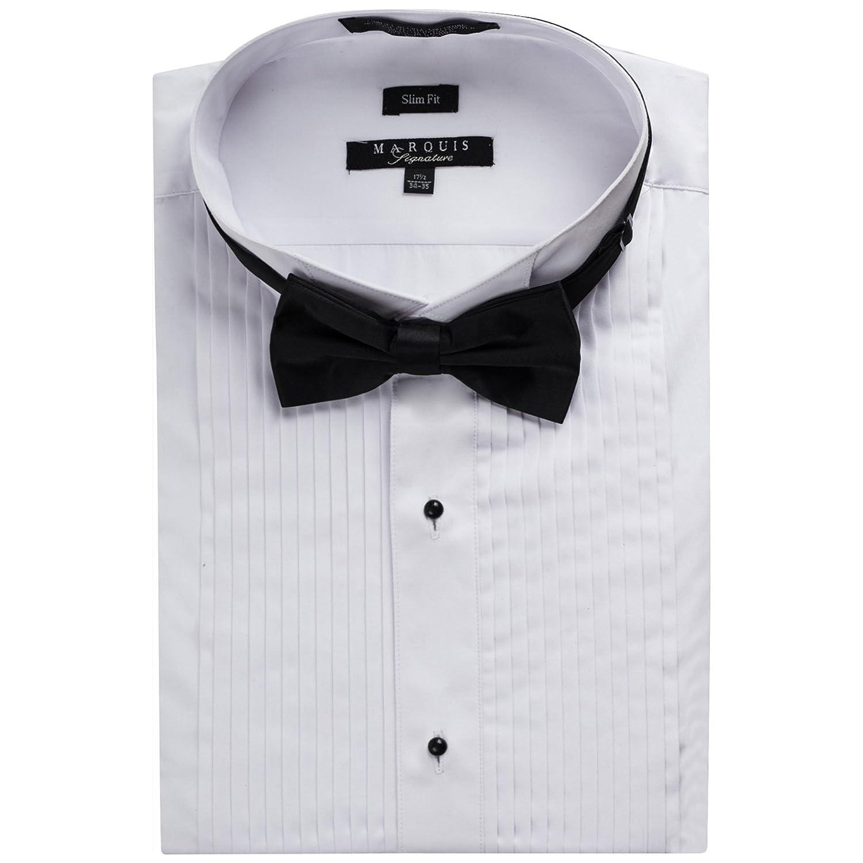 69cab644eb5 Top4  Marquis Men s Slim Fit Wingtip Collar Tuxedo Shirt(Bowtie included)