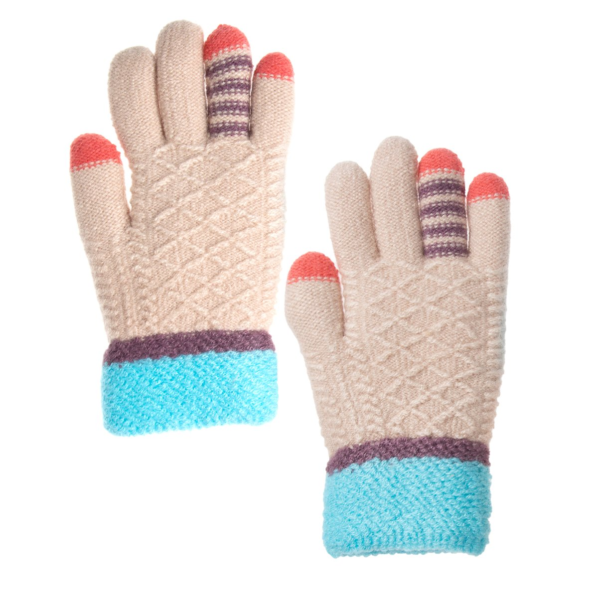 Classic Fashion 3 Pairs Outdoor Knit Gloves for Kids 5-8 Children Winter Cold Weather Gloves