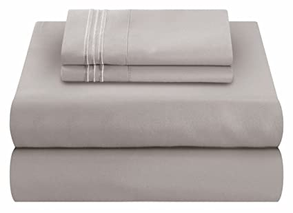 Mezzati Soft And Comfortable Waterbed Sheets Set U2013 1800 Prestige Brushed  Microfiber Collection Bedding (Silver