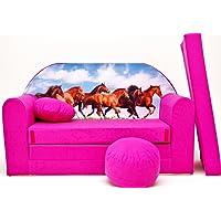 Pro Cosmo Canapé-lit H29 avec Pouf/Repose-Pieds/Oreiller - pourEnfant - en Tissu - Rose - 168x 98x 60cm