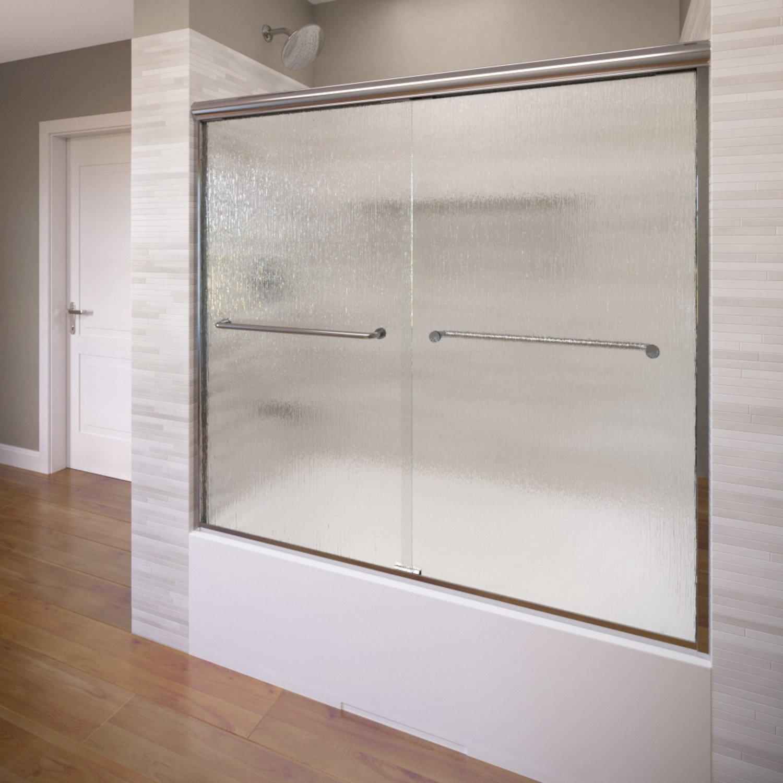 Basco Infinity 56'' to 58-1/2'' Frameless Sliding Glass Tub Door rain glass, silver finish 57'' height 4400-60RN