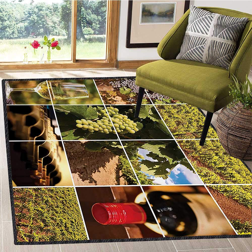 Vineyard, エリアラグマットパッド, Vineyard Landscapes Purple Grapes French Bottle Glass Rustic Cellar Couples, Children Kids Nursery Rugs Floor Carpet 5x6 Ft グリーンレッドブラウン B07RSF2JDP