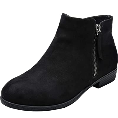 Luoika Women's Wide Width Ankle Booties - Low Flat Heel Side Zipper Round Toe Suede Comfy Boots. | Ankle & Bootie