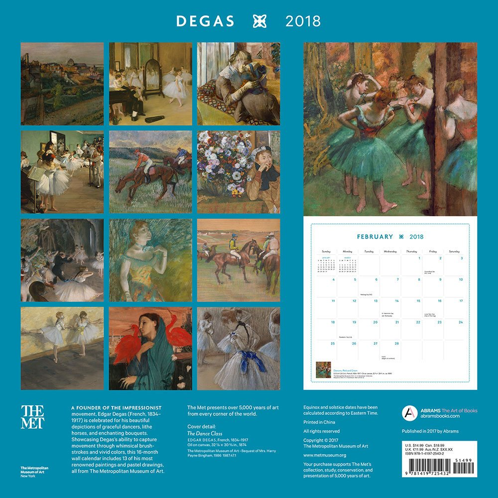 Degas 2018 Wall Calendar: The Metropolitan Museum of Art: 9781419725432:  Amazon.com: Books