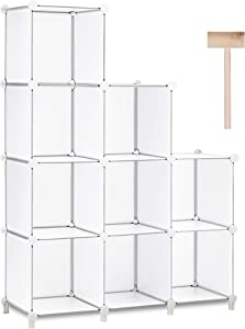 Puroma Cube Storage Organizer 9-Cube Closet Storage Shelves with Rubber Hammer DIY Closet Cabinet Bookshelf Plastic Square Organizer Shelving for Home, Office, Bedroom - White Translucent