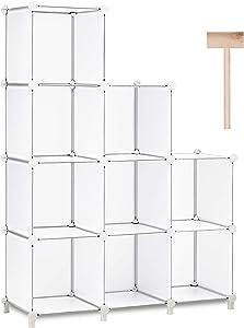 Puroma Cube Storage Organizer 9-Cube Closet Storage Shelves with Rubber Hammer DIY Closet Cabinet Bookshelf Plastic Square Organizer Shelving for Home, Office, Bedroom - White Translucent